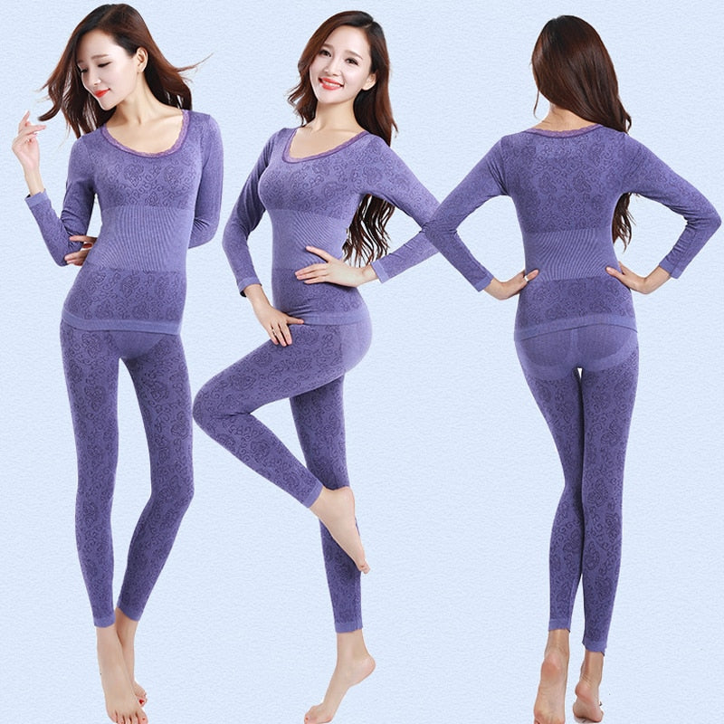 Queenral Thermal Underwear Women Long Johns For Women Winter Thermal Underwear Suit Seamless Breathable Warm Thermal Clothing - shopmendez
