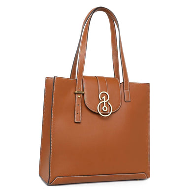 Square Tote - Saddle Tan