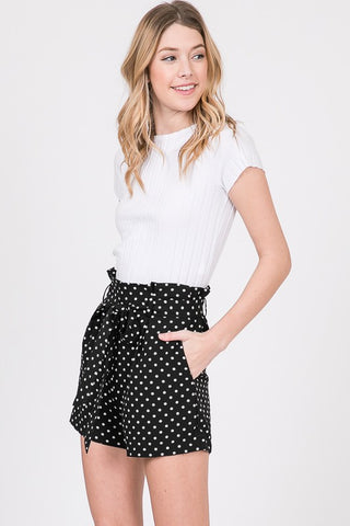 Polka Dot Paper Bag Shorts