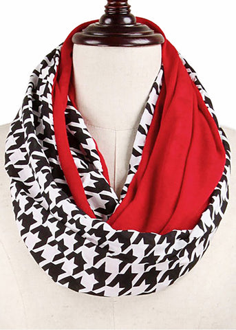 Houndstooth and Crimson Infinity Scarf