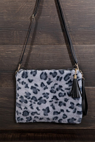 Leopard  Envelope Fur Handbag