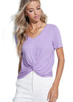 Twisted Summer V Neck Ribbed Tee