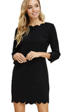 Scallop Black Dress