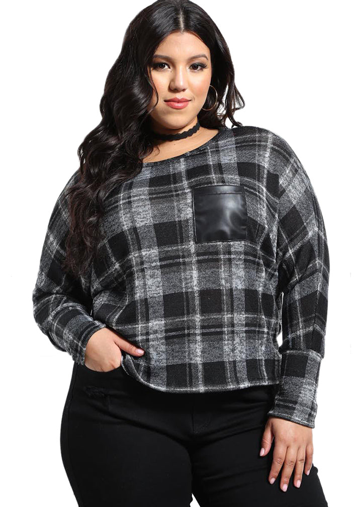 Plaid Top w/ Faux Pocket