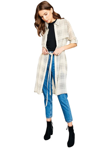 Sheer Plaid Duster