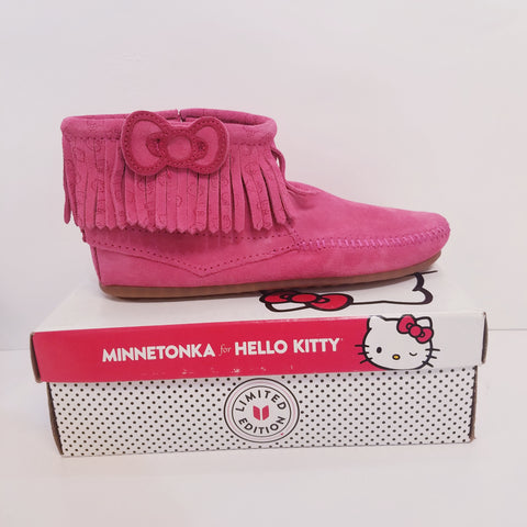 Hello Kitty Hot Pink Children Minnetonka Ankle Boots