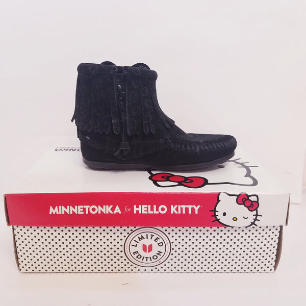 Hello Kitty Children Minnetonka Black Ankle Boots