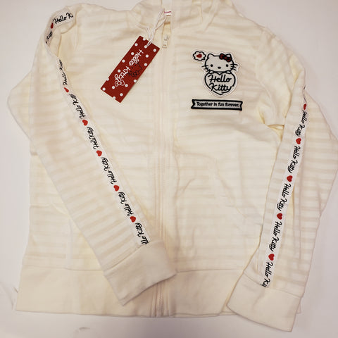 Hello Kitty Off-White Striped Girls Hooded Jacket