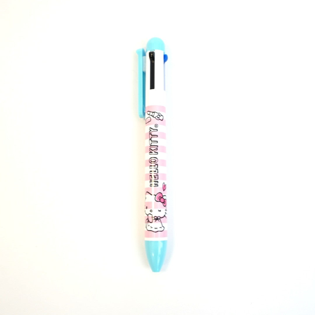 Hello Kitty 4 Color Pink Stripe Pen