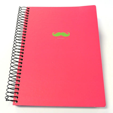 Bonjour Mustache 4 Subject Spiral Notebook