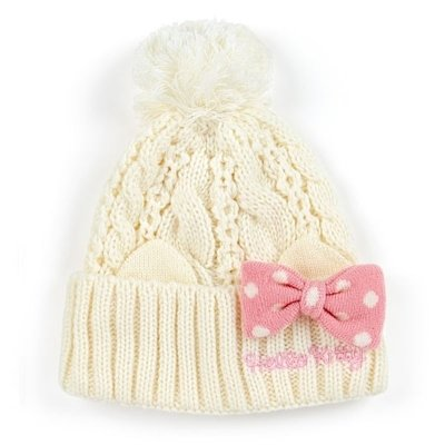 Sanrio Characters Bow Cable Knit Beanie Cap