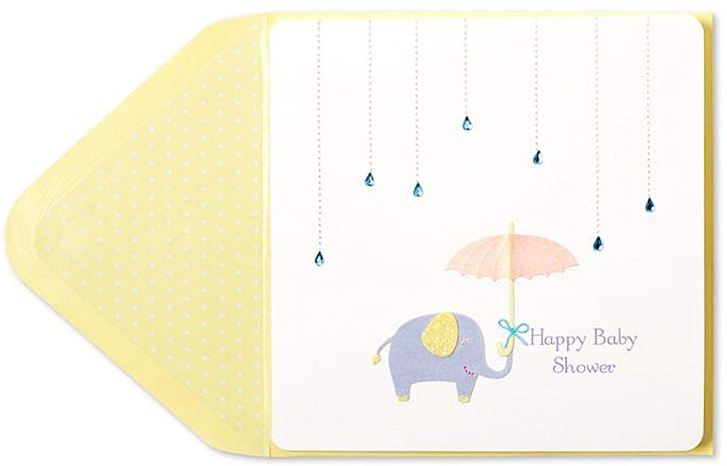 Papyrus Elephant and Umbrella Happy Baby Shower Card