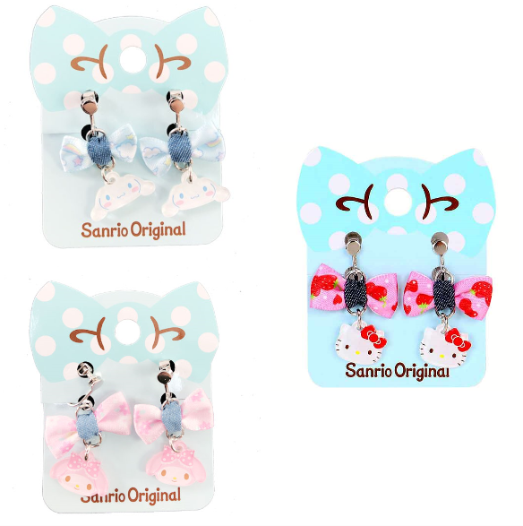 Sanrio Characters Denim Bow Clip On Earrings