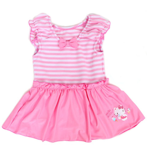 Hello Kitty Kids Pink and White Striped Ruffled Swimsuit