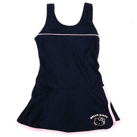 Hello Kitty Kids Navy Blue with Pink Stripe Swimsuit