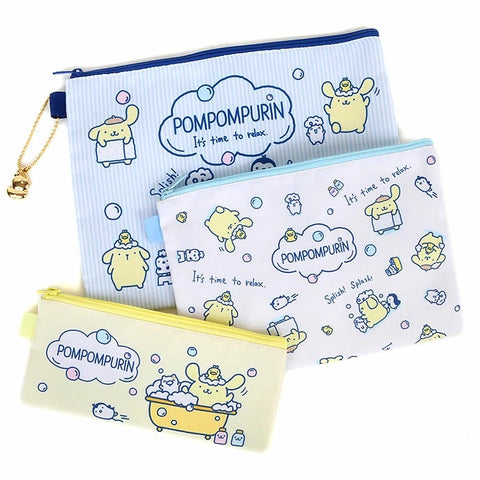 Pompompurin Bath Time Flat Pouch Set