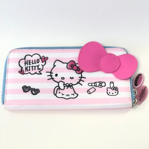 Hello Kitty Pink Stripes Pencil Pouch
