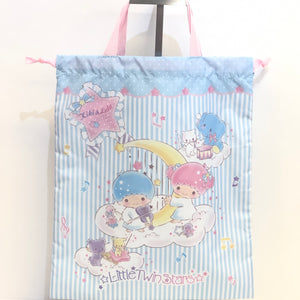 Little Twin Stars Stripes Drawstring Tote Bag