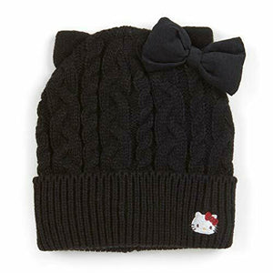 Hello Kitty Black Cable Knit Beanie