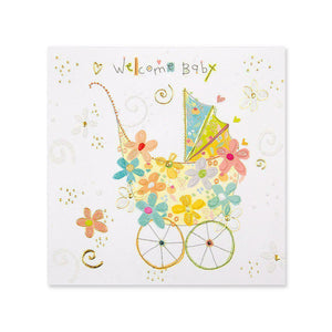 Papyrus Flower Stroller New Baby Card