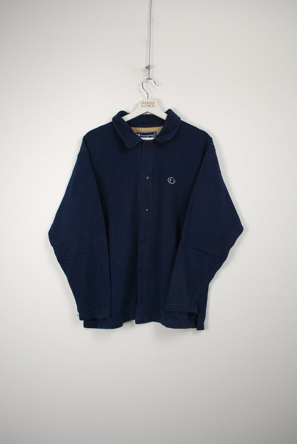 Champion Vintage Button Up Sweatshirt - Large