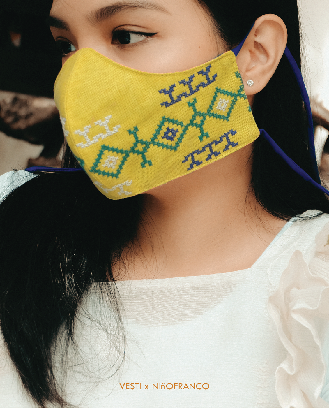 VESTI X NiñoFranco KAHAYAG Mask in Yellow / Royal Blue