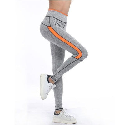 Neon Highlight Stretch Fitted Compression Leggings
