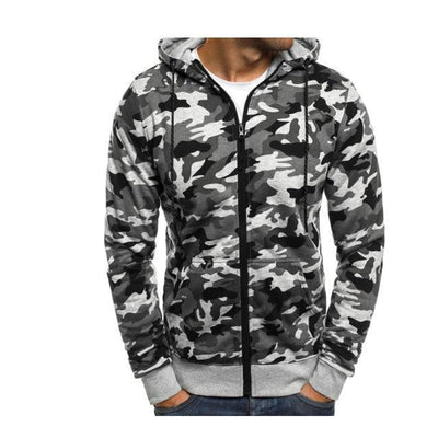 Flannel Zipper Camouflage Hoodie