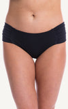 Bottoms Black Mid Rise Coverage   ruched side Bikini Types Styles size Swimwear Swimsuit Beachwear Women