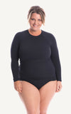 Long Sleeve Rash Top with inbuilt bra Bust Support Black Sun Protection Swimsuit Swimwear Swimming Beach Pool Women Sizes Tummy Moulded Plus Size Lycra
