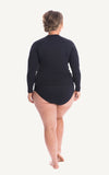 Long Sleeve Rash Top Bottom sun protection Black Women Swimwear Swimsuit Beachwear Moulded Bust support Cup Size Lycra