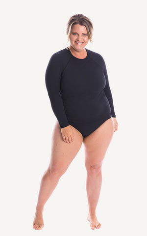 long sleeve swim shirt  Black Sun Protect Women Lycra Moulded Cup Size Sun Protection Plus Size