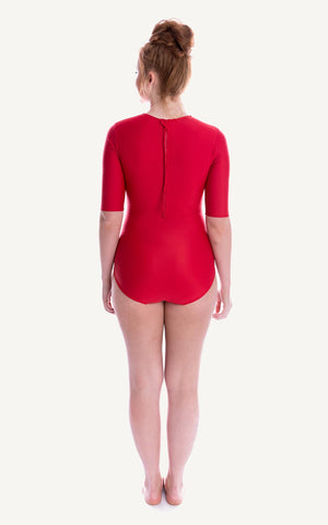Half Sleeve Red Sun Protection 1/2 length sleeve One Piece Bra Bust Support Cup Sizes Tummy Moulded Swim Swimsuit Swimwear Swimming Beachwear Women