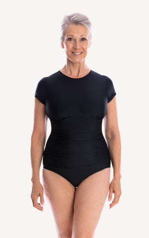 Ava Half Sleeve One Piece Swimsuit | Black