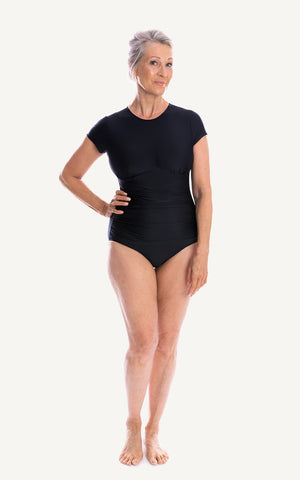 Bridget Cap Sleeve One Piece Swimsuit | Black