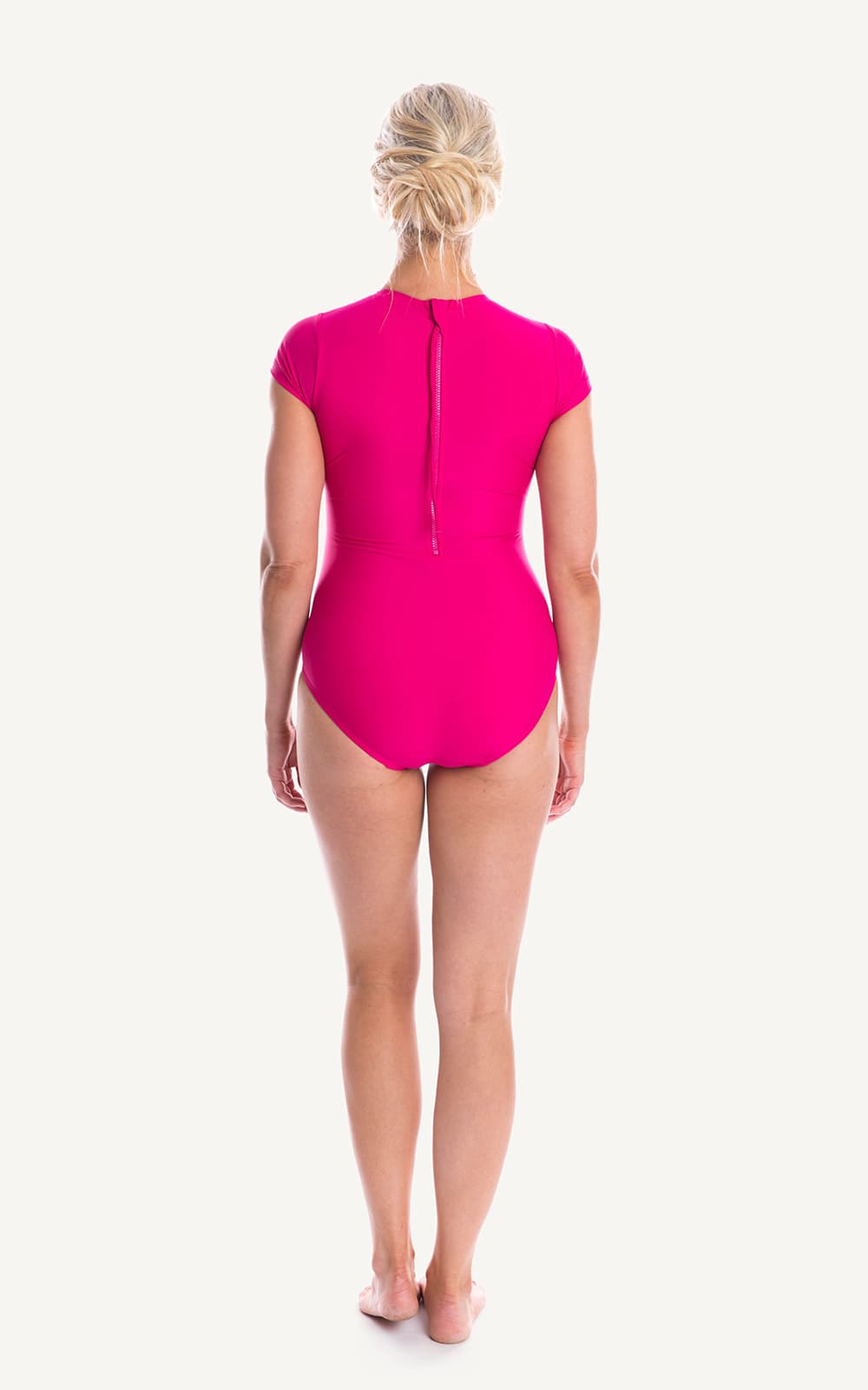 Cap Sleeve Pink One piece Sun Protection Bra Bust Support Cup Sizes Tummy Moulded Zip Swim Swimsuit Swimwear Swimming Beachwear Women