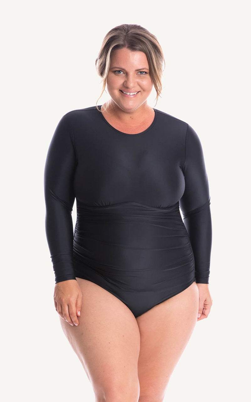 Long Sleeve One piece Black Ruch Sun Protection Bra Bust Support Cup Sizes Tummy Moulded Zip Swim Swimsuit Swimwear Swimming Beachwear Women Plus Size