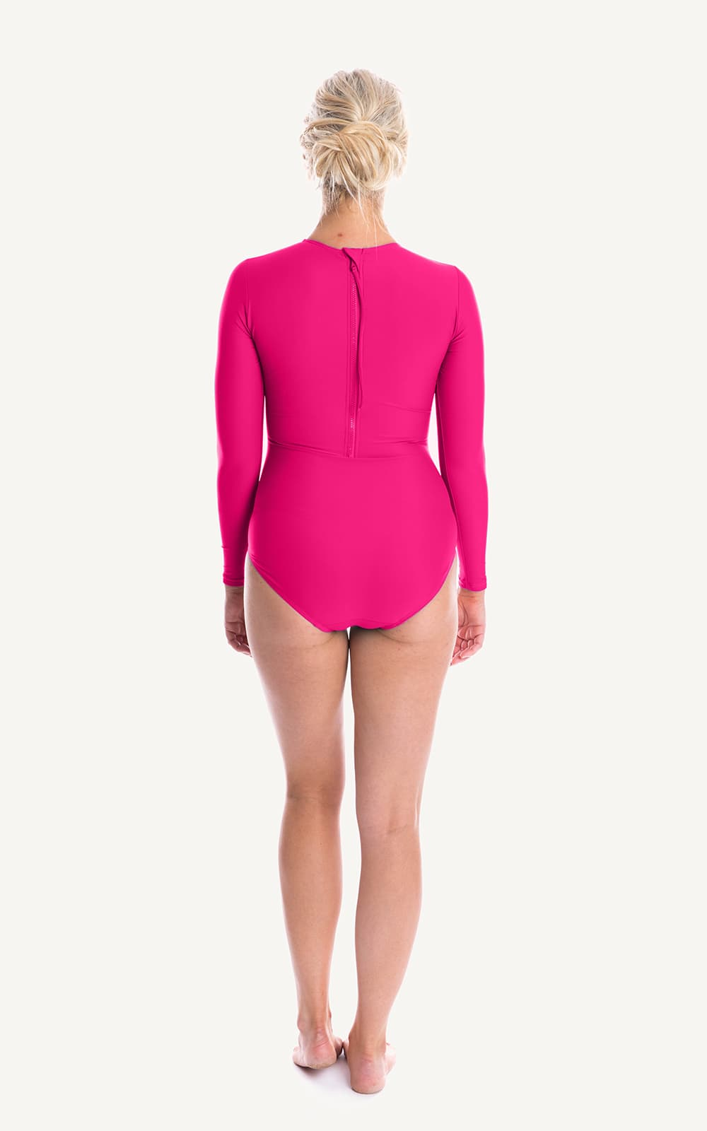 Long Sleeve One piece Pink Ruch Sun Protection Bra Bust Support Cup Sizes Tummy Moulded Zip Swim Swimsuit Swimwear Swimming Beachwear Women Plus Size
