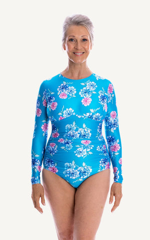 Grace Long Sleeve One Piece Swimsuit | Teal