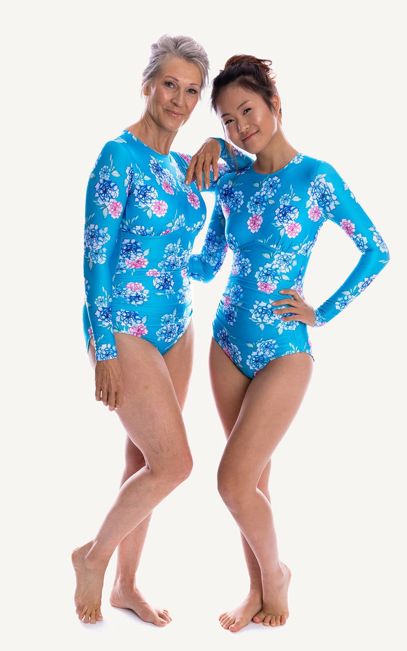 Long Sleeve One piece Blue Flowers Print Ruch Sun Protection Bra Bust Support Cup Sizes Tummy Moulded Zip Swim Swimsuit Swimwear Swimming Beachwear Women