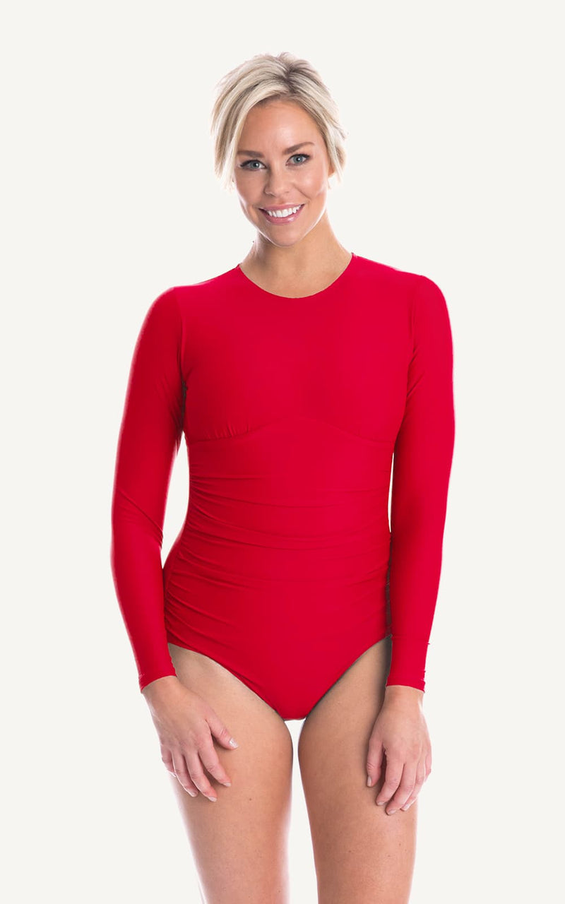 Long Sleeve One piece Red Ruch Sun Protection Bra Bust Support Cup Sizes Tummy Moulded Zip Swim Swimsuit Swimwear Swimming Beachwear Women