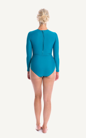 Long Sleeve One piece Blue Aqua Ruch Sun Protection Bra Bust Support Cup Sizes Tummy Moulded Zip Swim Swimsuit Swimwear Swimming Beachwear Women