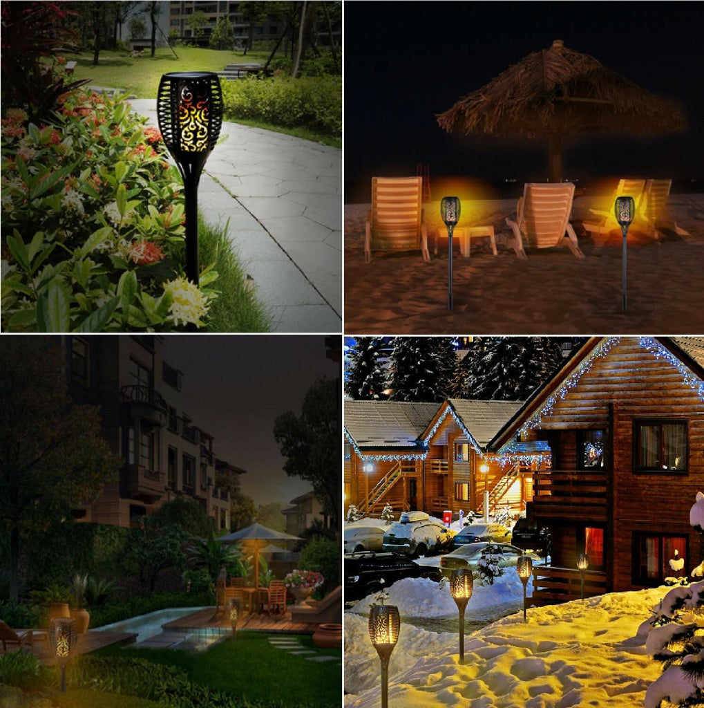 1/2/4pcs Solar Power 33 LED Torch Light Flickering Flame Outdoor Garden Yard Landscape Lamp Path Light Lawn Lights