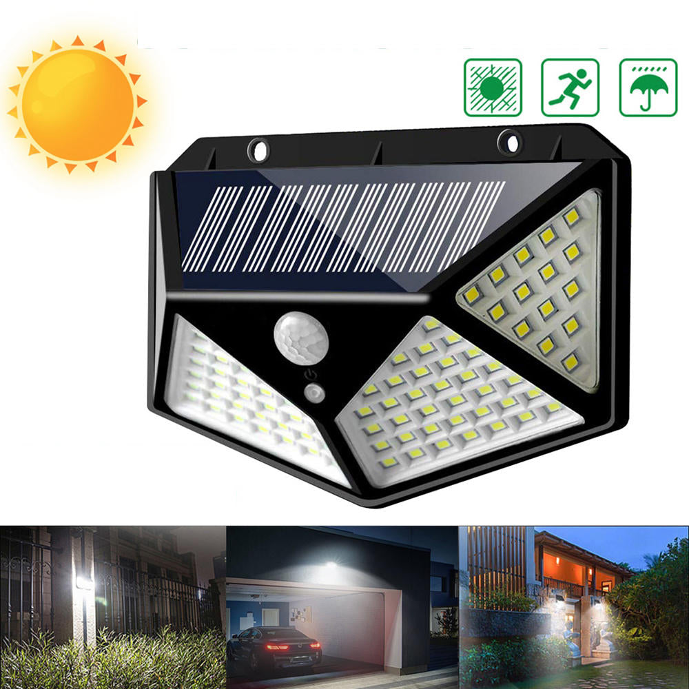 ARILUX 100 LED Solar Powered PIR Motion Sensor Wall Light Outdoor Garden Lamp 3 Modes