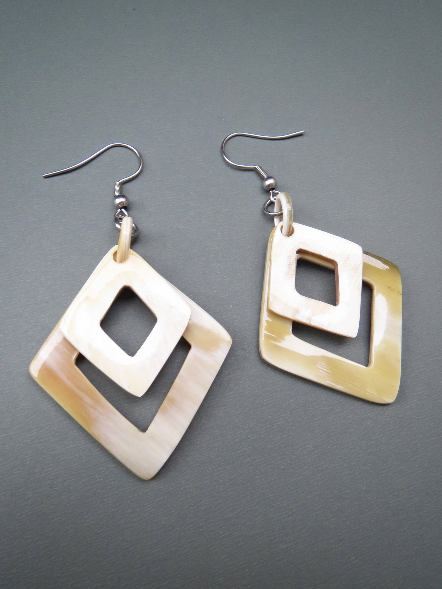 White Square Dangle Earrings
