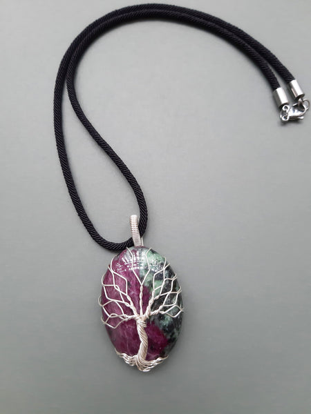 Natural Ruby Zoisite Tree Of Life Necklace