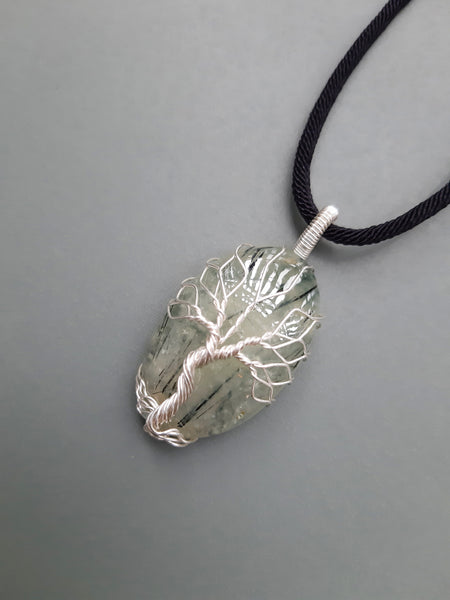 Natural Prehnite Tree Of Life Necklace