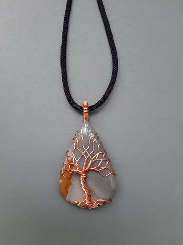 Imperial Jasper Tree Of Life Necklace, Teardrop