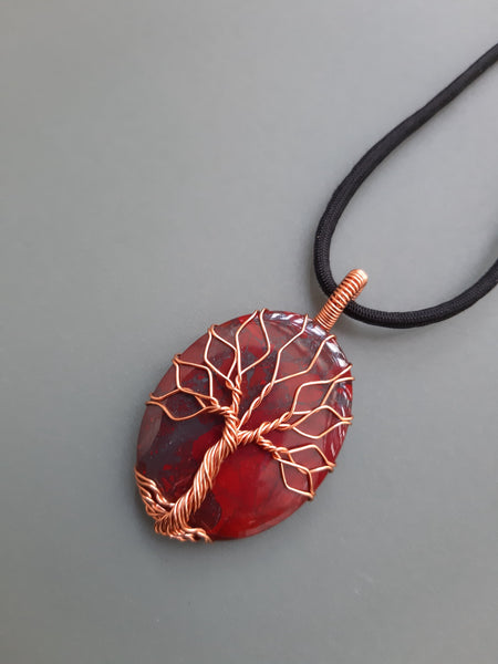 Natural Red Jasper Tree Of Life Necklace