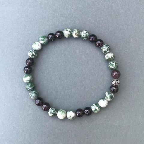 Tree Agate and Garnet Beaded Bracelet